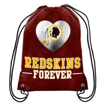 "Redskins Forever Drawstring Backpack Knitted Polyester Custom Backpack 13""x18"""