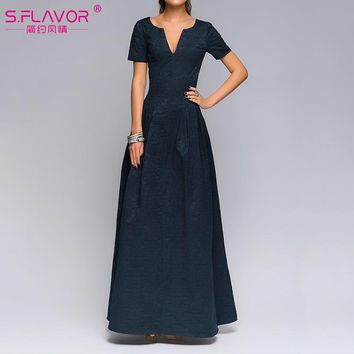 Party dress Good quality short sleeve V-neck sexy long dress Autumn fashion casual solid