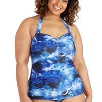 Esther Williams Cosmic Halter Bathing Beauty One-Piece Swimsuit in Blue Galaxy b