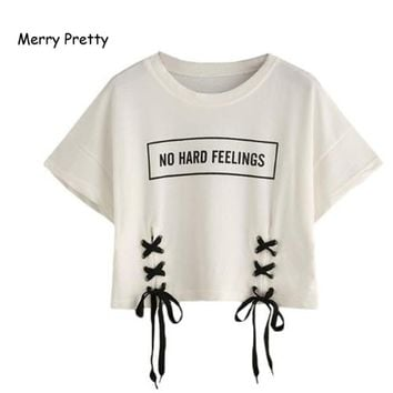 MERRY PRETTY new summer crop tops women t shirt letter print short sleeve lace up cotton loose sexy white t-shirt dance tops