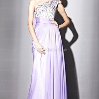 Sheath/Column One Shoulder Chiffon Floor-length Lilac Beading Evening Dress at dressestore.co.uk