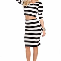 WHITE BLACK STRIPED 2 PIECE CROP QUARTER SLEEVE MIDI DRESS