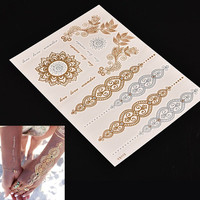 Gypsy Wanderer Gold & Silver Metallic Temporary Tattoos Live Love Wander Blooming Sun Flower Mandala Designs Flash Tattoos