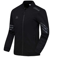 """Adidas"" Trending Women Men Casual Long Sleeve Zip Cardigan Jacket Coat Sweatshirt Sweater Top Black"