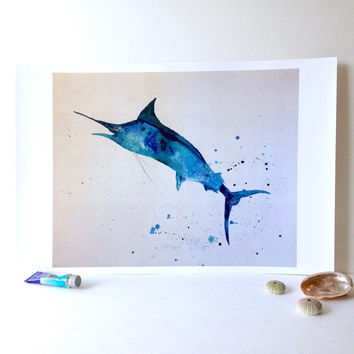 Blue Marlin Wall Art. Sportfishing Art for Cabin. Marlin Splash Watercolor 11x14 Print. Navy Blue Turquoise Green. Offshore Bluefish Artwork
