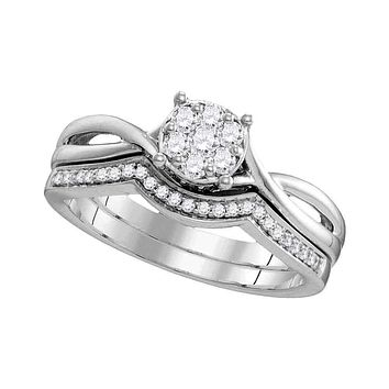 10kt White Gold Women's Round Diamond Twist Bridal Wedding Engagement Ring Band Set 1/3 Cttw - FREE Shipping (US/CAN)