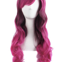 "24"" Wavy Multi-Color Lolita Cosplay Wig Party Wig (Rose Red/ Grey)"