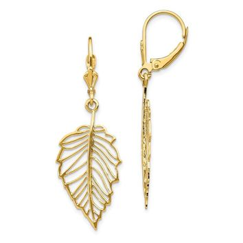 14k Yellow Gold Polished Leaf Leverback Earrings (42 mm)