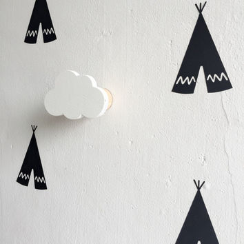 Newest design Boys Girls Kids Room Wooden Clouds Pillow On Wall decorative Behind Door In Children's Room hanger hook