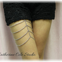 Silver multi scallop chain LEG BRACELET  amazing look for shorts, skirts for summer body jewelry for your legs Catherine Cole Studio LB1