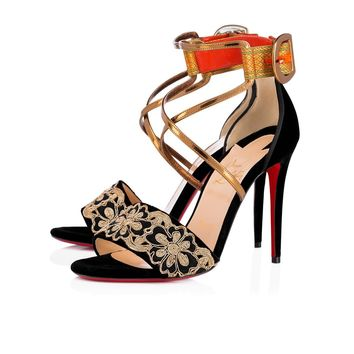 Christian Louboutin Cl Sabina 100 Fabric Black/multi Fabric 17w Sandals 3171226m870 - Best Online Sale
