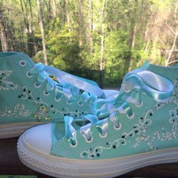 CREYONB Hand Painted Rhinestone Sea Star Blinged Out Starfish Custom Converse
