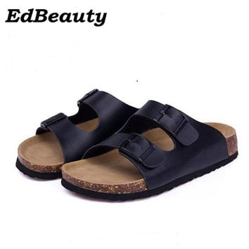 Women Shoes Sandals Slippers Summer Lady Flats Sandals Cork Slippers Casual Shoes Mixed Colors Beach Slides Plus Size 35-43