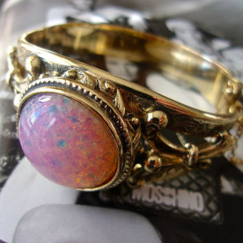WHITING & DAVIS Fire Opal Hinged Bracelet, Art Nouveau Gold Tone, Vintage