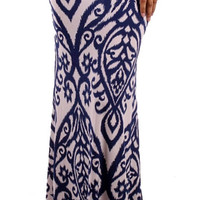 Touch of Class Skirt - White and Royal - Plus SIze