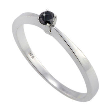 925 Sterling Silver .10ct Black Diamond Solitaire Ring Size 7.5