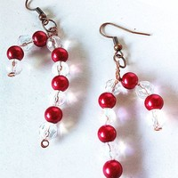 Red and clear crystal and pearl candy cane earrings, christmas earrings, candy earrings, pearl earrings, red earrings, christmas jewelry