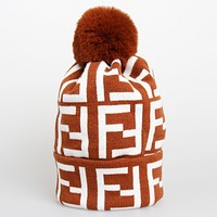 Fendi Autumn And Winter New Fashion More Letter Keep Warm Leisure Knit Women Cap Hat