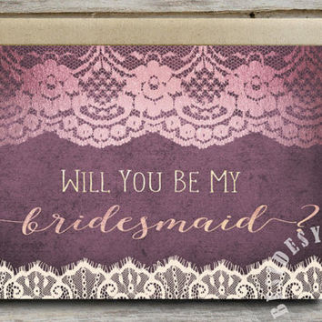 Will You Be My Bridesmaid Card Purple Wedding Invitation, Bridesmaid Proposal, Bridesmaid Card, Ivory Lace Rose Gold Foil, Printable Card