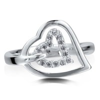 Sterling Silver Cubic Zirconia CZ Open Heart Right Hand Fashion Ring #r480