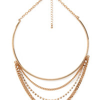 FOREVER 21 Layered Curve Bib Necklace Gold/Clear One
