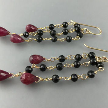 Ruby and Black Spinel Chandelier Earrings