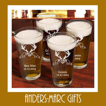 Personalized Groomsmen Beer Glass Wedding Gift Set * Custom 16 oz. Pint Beer Mug Toasting Pint Glass Groomsmen, Father & Bridal Party Gift