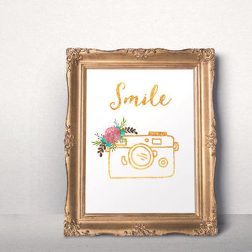 Inspirational Gold foil print Smile printable quote Printable Camera Typography poster gifts Download Digital Smile Art Modern floral poster