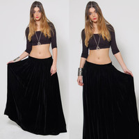 Vintage 70s VELVET Maxi Skirt Black Velvet Long Skirt Goth Skirt FULL SWEEP Boho Gypsy Skirt