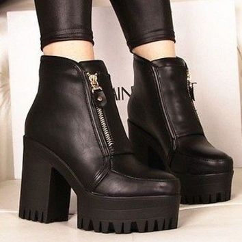 New Womens Punk Goth Chunky Heels Platform Side Zip Ankle Boots Shoes