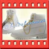 Custom Hand Painted White and Gold Chain Timberland Boots