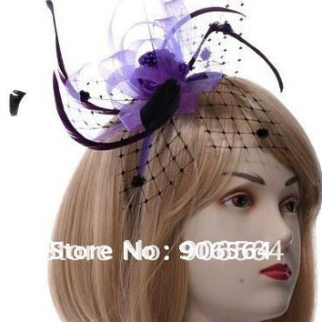 Free shipping multiple color   mini top hat fashion Feather hair accessories /Fascinator Fancy Dress headwear MSF087