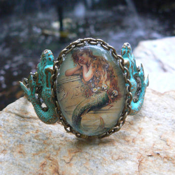 mermaid bracelet verdigris cuff  nautical mermaid jewelry