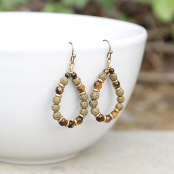 'Prosperity' Tiger's Eye Aromatherapy Earrings