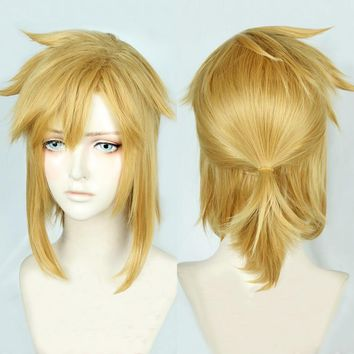 Cool The Legend of Zelda: Breath of the Wild Link Short Golden Blonde Pony tail Cosplay Costume Wig Heat Resistance Fibre + CapAT_93_12