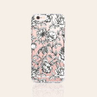 Floral iPhone 6s Case Clear iPhone 6s Plus Case Floral iPhone 6 Case Vintage iPhone 6S Case Floral Samsung Galaxy S6 Case Black and White