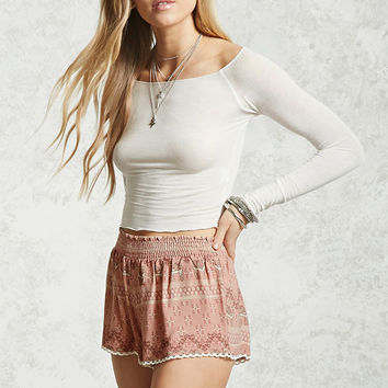 Scalloped Desert Print Shorts