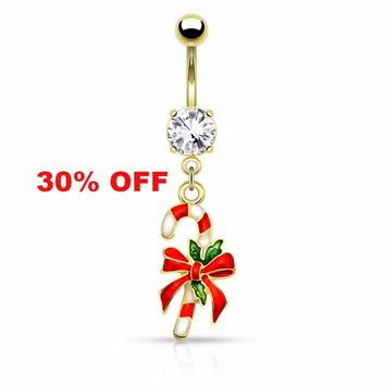 Holiday Gold Candy Cane Belly Button Navel Ring 14ga Surgical Stainless Steel