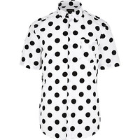 River Island MensWhite polka dot short sleeve shirt