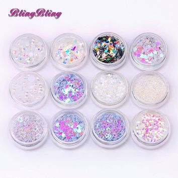 Blingbling New Arrival Holographic flake Nail Glitter Various paillette Nail Sequins Star Heart Design for Nail Art Decoration