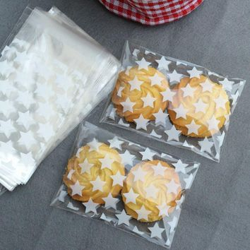 100pcs/lot Wedding Candy Gift Plastic Cookie Bags White Star Transparent Christmas Biscuits Baking Packaging Bag