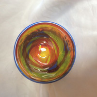 Whimsical Hand Blown Glass Bowl:  Summer Joy.  Rainbow Glass Modern Art Bowl.  Blue Blown Glass Bowl with Multicolor Interior.