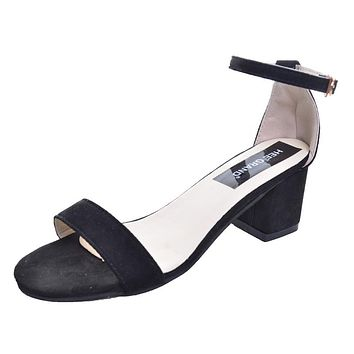 Women Sandals Peep Toe Flock Simple Square Heel All-match Summer Shoes