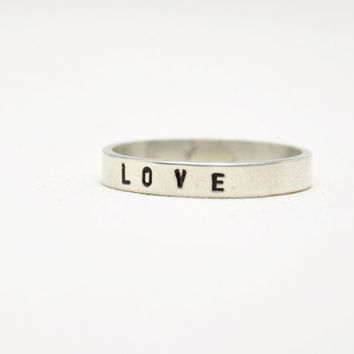 Personalized Hand Stamped Custom Words Ring, Simple Sterling Silver Stack Band Ring - Brushed Satin or Shiny Polished Finish