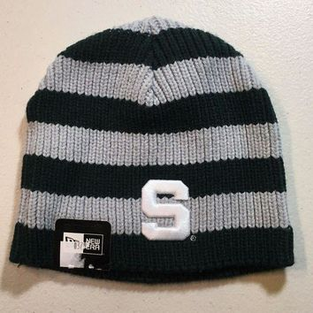 ESBONC. BRAND NEW WOMEN'S MICHIGAN STATE SPARTS GREEN AND GRAY NEW ERA KNIT HAT