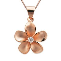 "14k Rose Gold Plated Sterling Silver Plumeria CZ Necklace Pendant with 18"" Box Chain"