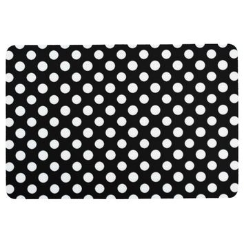 Black and White Polka Dot Pattern Floor Mat