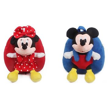 Good quality baby schoolbag plush backpack with Mickey Minnie dolls toys for boys girls children's school bag