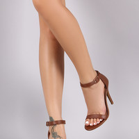 Anne Michelle Simple Open Toe Ankle Strap Heel