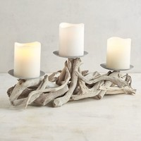 Gray Driftwood Centerpiece Candle Holder